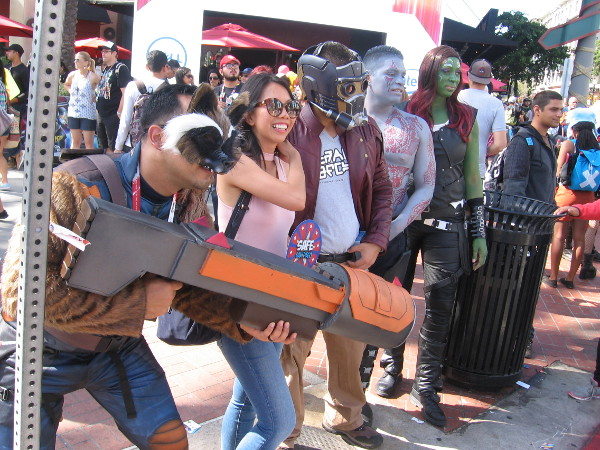 The Guardians of the Galaxy have arrived to help guard the Gaslamp Quarter for a bit.