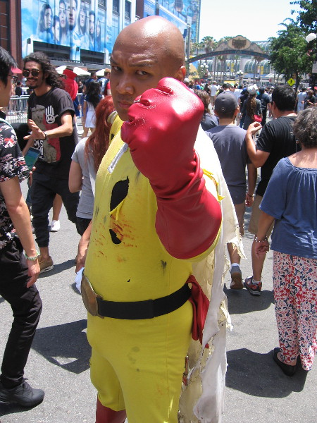 This guy is called One Punch Man. One is all it takes!