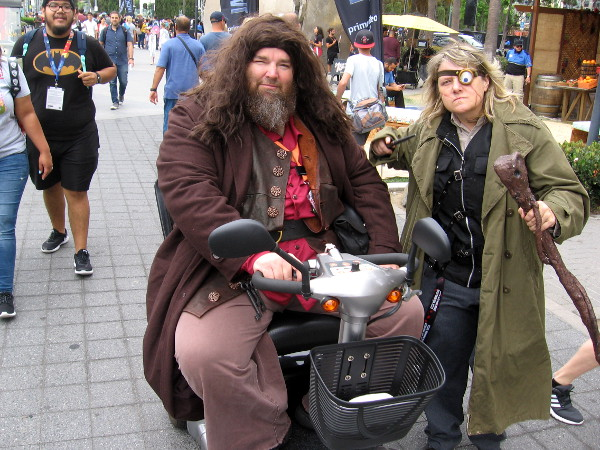 "Rubeus Hagrid cosplay along with ""Mad-Eye"" Moody at 2018 San Diego Comic-Con."