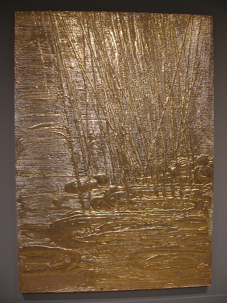 Lemon Gold Sunlight with Rain, Nancy Lorenz, 2017. Lemon gold leaf, silver leaf, clay, cardboard, on wood panel.