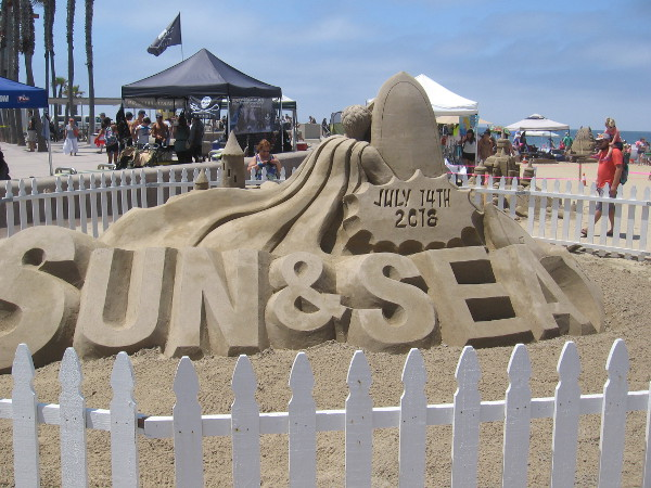A big sand sculpture near the event's entrance greets one and all to the Sun and Sea Festival.