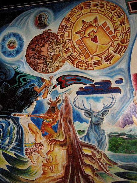 """The Tree of Life stands at the center of the powerful symbolic mural La Dualidad--The Duality, 1970-1984, by artist Guillermo """"Yermo"""" Aranda."""