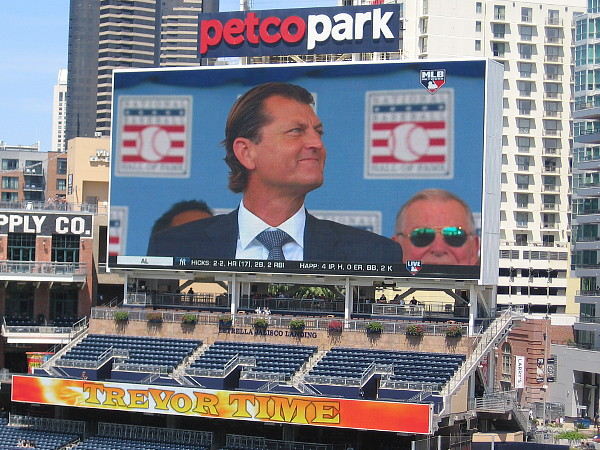 The MLB Network live feed on the Petco Park videoboard shows Trevor Hoffman shortly before he gives his speech at the Hall of Fame.