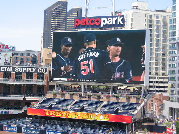 Footage shows Trevor during a game with his Padres teammates on the field.