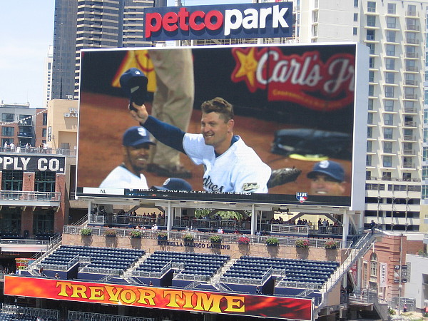 Trevor doffs his cap to his San Diego fans as he achieves a baseball pitching milestone.