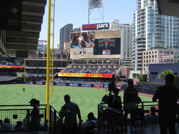 Padres fans enter Petco Park as an historic event occurs on the other side of the country.