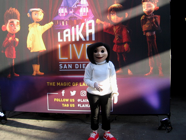 Before beginning the tour, visitors can pose with various Laika characters, like Other Mother, for a photo.