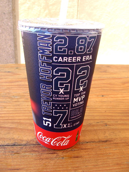 My soda cup with Trevor Hoffman's impressive baseball achievements.