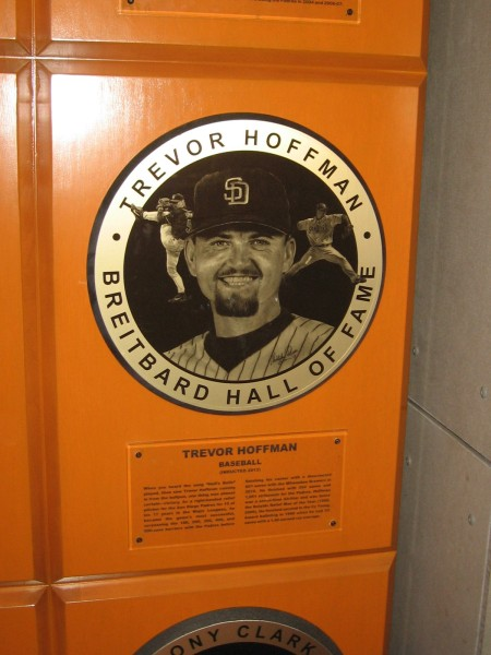 Trevor Hoffman's plaque in the Breitbard Hall of Fame. A sports legend in San Diego, among many others.