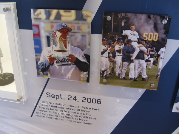 Photo of Trevor Hoffman achieving his 479th save, surpassing Lee Smith, in the Padres Hall of Fame in Petco Park.