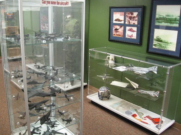 Inside the museum, a variety of exhibits detail different modern aircraft that have been used by the United States Marine Corps.
