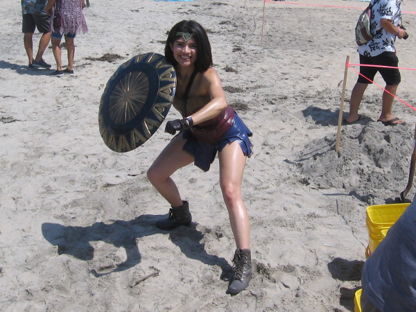 I found my first superhero on the beach. It's Wonder Woman!