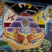 Powerful mural inside Centro Cultural de la Raza.