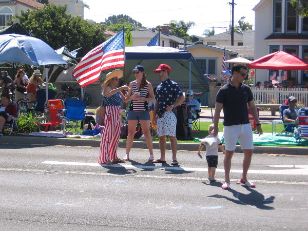 People gather in Coronado for a patriotic Fourth of July Celebration.