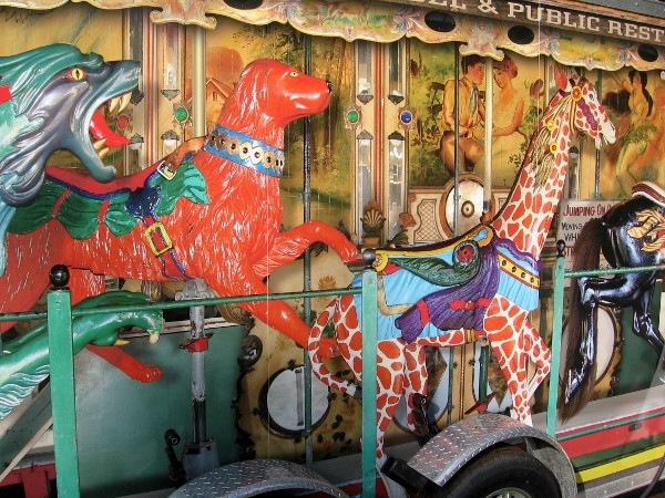 Another restroom trailer features images from Coronado's historic carousel at Tent City.