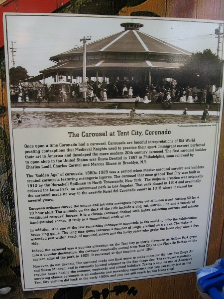 Sign describes the golden age of carousels and the history of one beloved merry-go-round that lives on in San Diego.