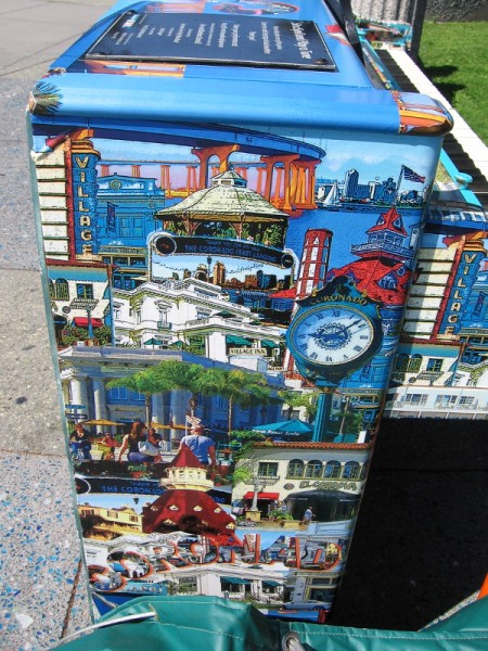 The public piano is decorated with memorable images from around Coronado.