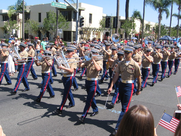 Here comes the Marine Corps Band San Diego.