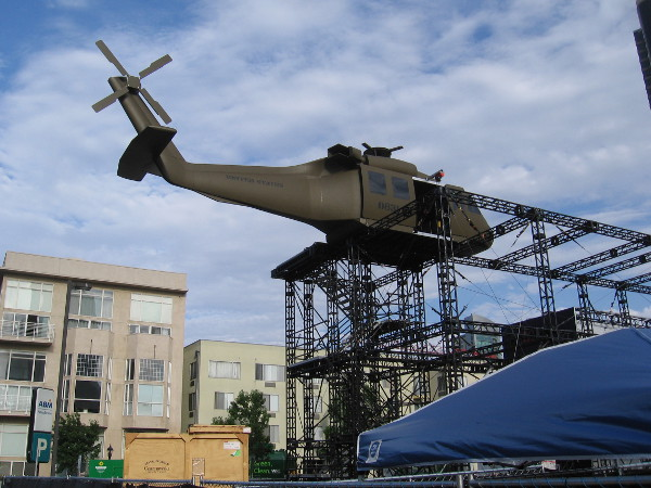 A huge helicopter now stands high above the street on a steel structure for the Jack Ryan Experience at 2018 San Diego Comic-Con!