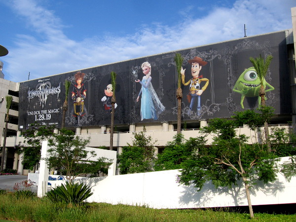 A huge banner facing the San Diego Convention Center features Disney characters and promotes Kingdom Hearts III which debuts early next year.