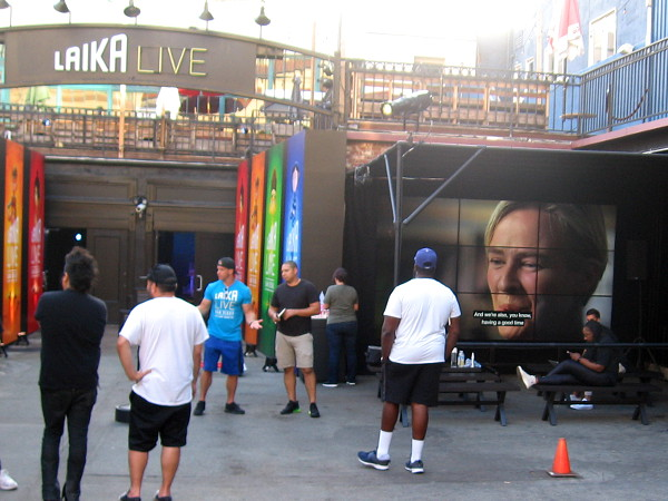 The entrance to LAIKA LIVE San Diego appears ready to go. It opens Friday afternoon, six days before 2018 Comic-Con!