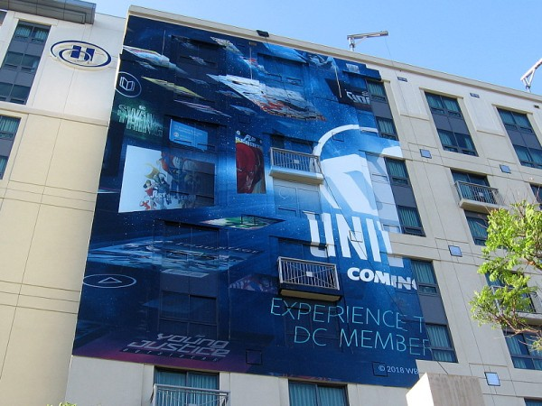 The cool DC Universe wrap on the Hilton Gaslamp appears to be halfway applied.