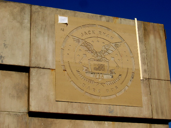 A huge bunker-like escape room in one corner of the Jack Ryan Experience has a cool seal. JACK RYAN DARK OPS.