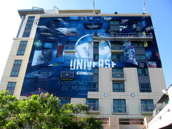 The cool DC Universe wrap on the Hilton Gaslamp is almost completed.