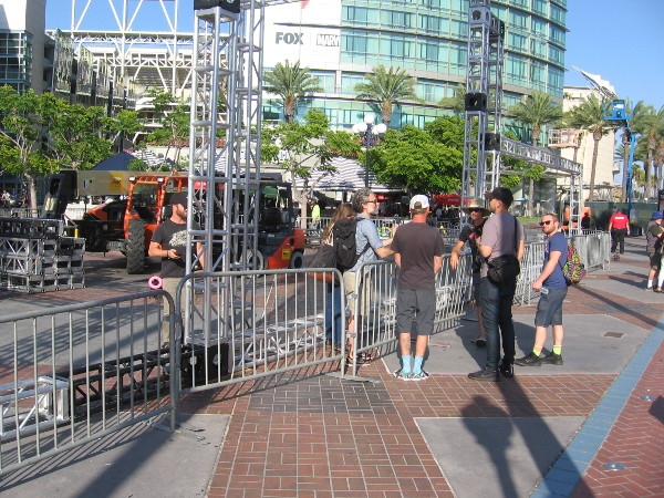 Guys in charge of erecting The Good Place offsite for 2018 San Diego Comic-Con confer.