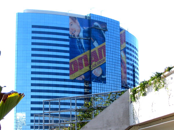 A big Conan O'Brien wrap is being placed on the Marriott Marquis. The design appears similar to this year's Conan trolley wrap.