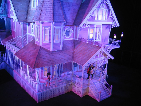 The tour has begun. First up we see a large model of Coraline's Other World House Exterior, or Pink Palace. The 1/16 scale miniature was used to film several exterior scenes.