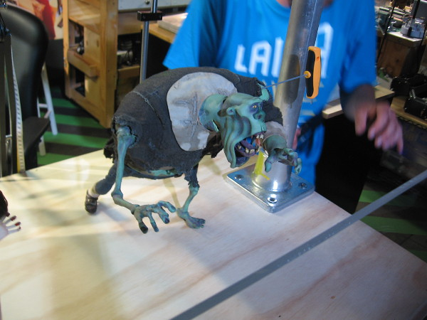 Once a puppet's physical posture is slightly altered, a key tightens up the armature for another camera shot.