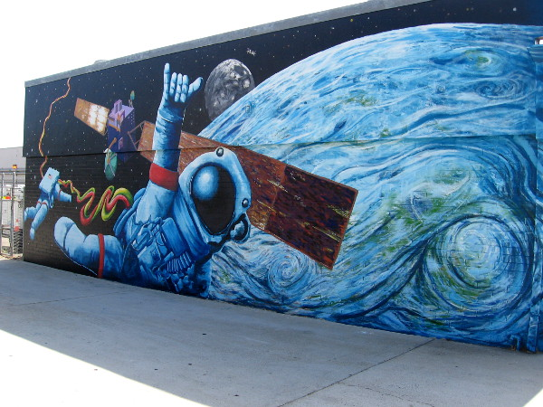A very cool space mural on one side of the AT&T building on Palm Avenue in Imperial Beach. By artists Todd Stands and Dave Frink.