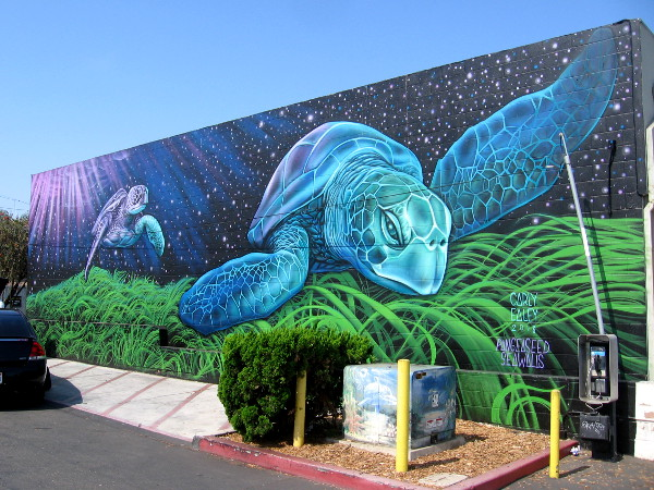 Carly Ealey painted Cosmic Tides in Imperial Beach for Pangeaseed's Sea Walls Murals for Oceans.
