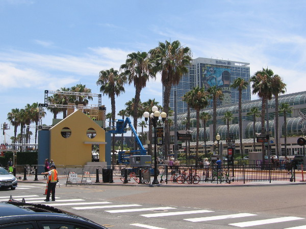 Lots of construction activity around the hub of Comic-Con's outdoor campus.