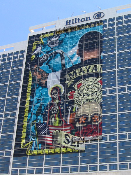 That big wrap on the Hilton San Diego Bayfront is in fact for the upcoming FX television series Mayan MC.