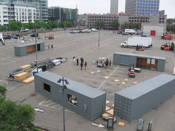 The Experience at Comic-Con in Petco Park's adjacent Lexux Premier Lot is barely getting started on Monday morning.