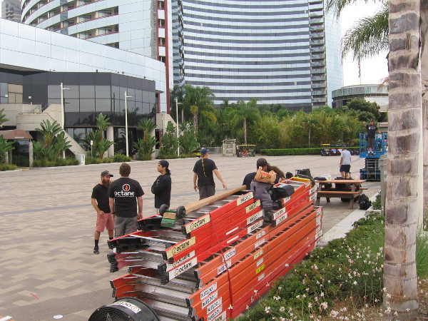 Bandai is setting up an offsite in the terrace by the Marriott Marina, where Conival was last year.