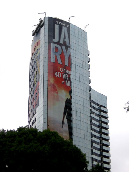 The Jack Ryan wrap on the Marriott Marquis is about half finished on Monday morning.