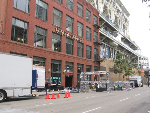 Another photo of Comic-Con preparation in front of the Western Metal Supply Co. building.