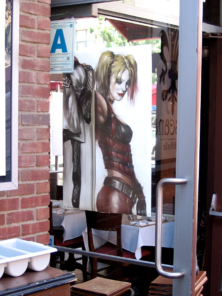 I believe that's Harley Quinn in a window of Toscana Cafe & Wine Bar in the Gaslamp.