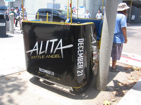 Alita Battle Angel promoted on a pedicab on the Embarcadero.