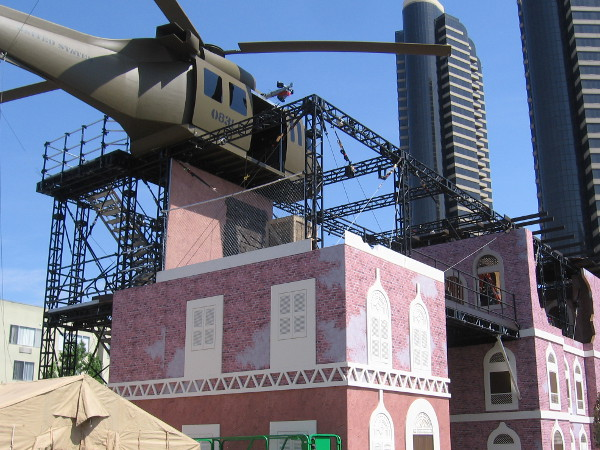 I learned visitors will climb to the helicopter, descend by wire to a top floor, then head over to the zip line. Once on the ground, there's more training to do involving some sort of vehicles.