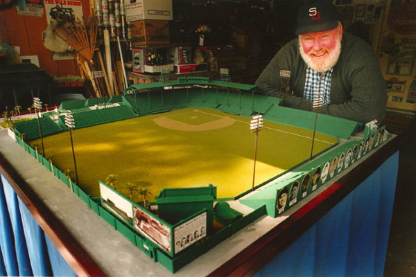 Completed model of Lane Field stadium in the garage of baseball historian Bill Swank. Photo courtesy Bill Swank.