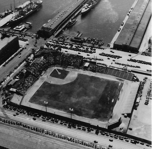 Lane Field (1936) before the grandstand roof was added. Photo from the Bill Swank collection.