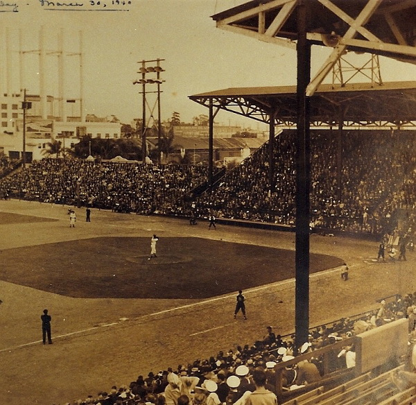"""Opening Day, March 30, 1940. Southpaw Wally """"Preacher"""" Hebert took the mound and beat the Los Angeles Angels, 5-1. Photo from the Hebert Family."""