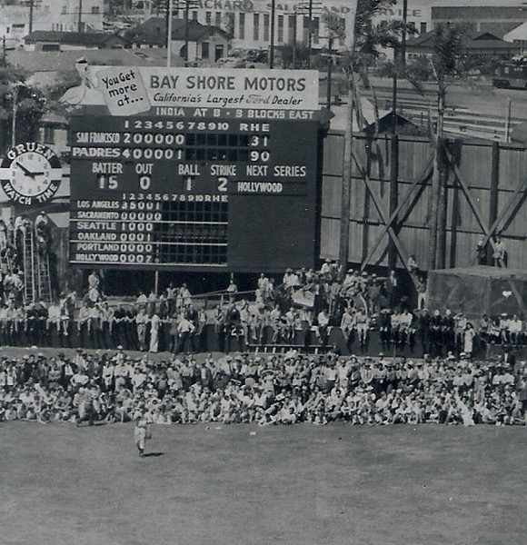 A new attendance record (13,466) was set on May 2, 1948 for a game with the San Francisco Seals. During the game, fans stood and sat in the outfield against the fence. A ball that went into the crowd was a ground rule double. Photo from the Bill Swank collection.