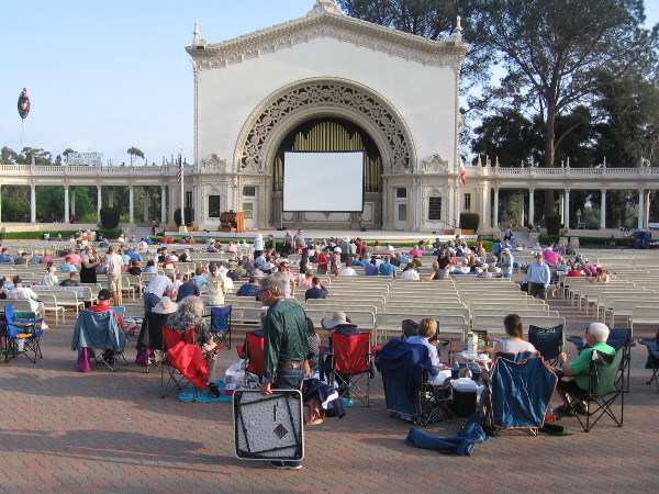 People gather in the Spreckels Organ Pavilion well before the start of Silent Movie Night.