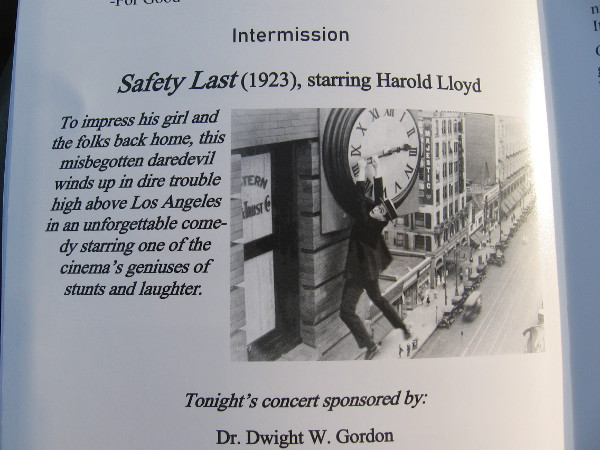 Safety Last, 1923, is a comedy that features silent screen star Harold Lloyd, who graduated from nearby San Diego High School.