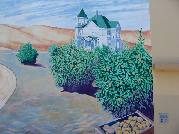 Section of Lemon Capitol of the World mural that shows the historic orchard house that still stands at 210 Davidson Street.